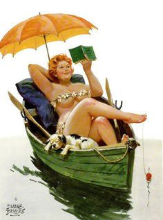 Hilda - laid back reading in her boat, fishing bobber attached to toe, dog asleep on side of boat, green boat, yellow umbrella