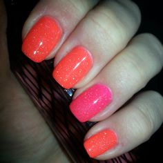 Gelish Tiki Tiki Laranga w/Shake It Til You Samba accent finger, all topped w/Vegas Nights: (In love with this one!)