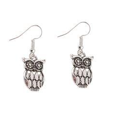 Retro Style Owl Pendant Earringswww.wearethebikerstore.com   Bikers, Motorcycle, Men, Women, Fashion, Goth, Home Decor, Skull, Leather.