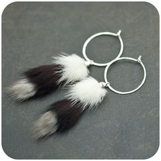 Items similar to Lemur Tails - Sterling silver and recycled fur earrings on Etsy Jewelry Design, Unique Jewelry, Handmade Jewelry, Fur Accessories, Lemur, Jewerly, Crochet Earrings, Recycling, Creations