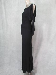 3c9e41bc637e ON HOLD 1930s Dress Vintage Formal Black Bias Open Sleeve Kick Pleats Carol  Lombard