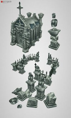 Low Poly Cemetery Crypt Set … concept by Arthur G. modeled and textured by Csaba Baity! Now available on 3DO as standalone or as add o...