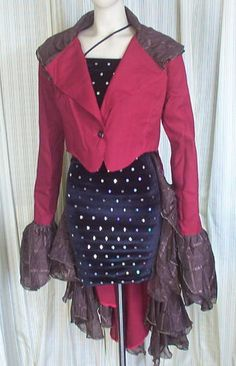 4518 Red Gothic Victorian Ringmaster Rockabilly Steampunk Tailcoat Jacket L | eBay