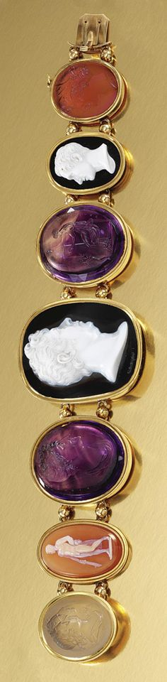 A RARE HARD STONE CAMEO AND INTAGLIO BRACELET, FIRST HALF OF THE 19TH CENTURY.  Composed of a series of three hard stone cameos and four hard stone intaglios graduated in size from the centre, all mounted in gold Roman style mounts, length approximately 210mm.