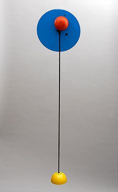 Metal halogen ceiling-lamp Alesia in blue red and yellow design Carlo Forcolini 1981 executed by Artemide / Italy
