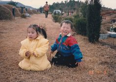 When I was young. With cousin Min-gyu at the family tomb mountain.