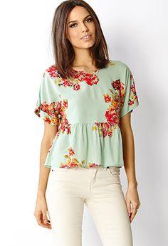 Blusa de estampado floral en Forever 21// Floral print peplum top from Forever 21.