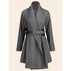 #RoseWholesale - #Rosewholesale Plus Size Belted Asymmetrical Skirted Coat - AdoreWe.com