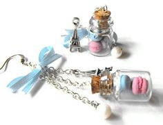 Too sweet to resist french inspired earrings- Miniature bottles filled with polymer clay macaroons on Etsy, $15.94