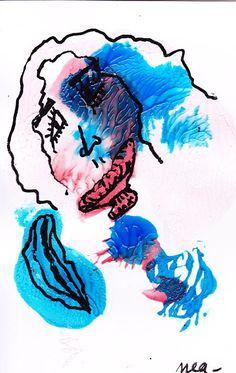 Peinture à l'encre sur papier 8*12 cm Original signé Nea Côte Artprice Art Brut