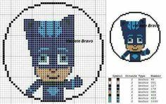 Gattoboy Cross Stitch Designs, Cross Stitch Patterns, Pj Max, All Cartoon Characters, Festa Pj Masks, Stitch Cartoon, Kid Character, Perler Bead Art, Cross Stitch Baby
