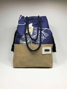 Two-way canvas/burlap bag Leaf in Blue