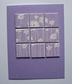 handmade inchie card ... monochromatic lavendar .. 9-square-direct-puzzle ... clean and simple design .. luv it!
