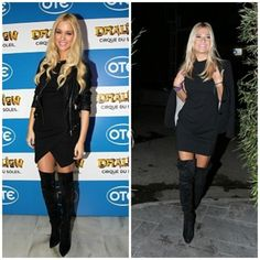 Love the outfit on the right.  Those knee high boots are killer.