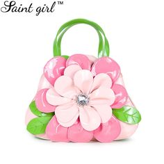 52.55$  Buy now - http://alibwq.worldwells.pw/go.php?t=32474840181 - Saint Girl Women's Flower Handbags Bag Ladies PU Leather Shoulder Bag Pink Color Crossbody Bags For Girl Bolsos Mujer SNS014