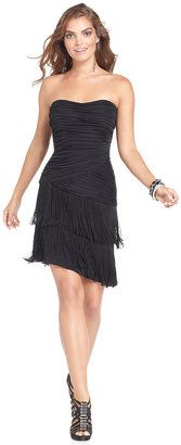 GUESS Dress Strapless Tiered Ruched Fringe GUESS