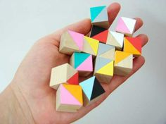 hand painted wooden cubes