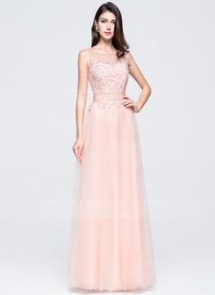7f53e8976af A-Line Princess Scoop Neck Floor-Length Beading Appliques Lace Sequins  Zipper Up Regular Straps Sleeveless No Pearl Pink Spring Summer Fall  General Plus ...