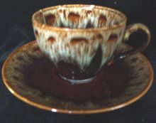 """Brown drip pattern called """"Rawhide"""" made by Harker. This cup and saucer is marked and is in excellent condition.  Other pieces of this pattern can be found on GoAntiques.com.  #Vintage Dinnerware #""""Rawhide"""" #Harker"""