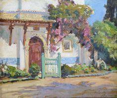 """MIDY Arthur (1887-1944) """"Le Bardo - Alger"""" Huile sur panneau signée"""