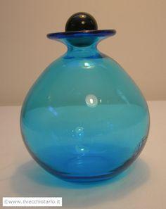 Bottiglia azzurra vetro di Murano Marcello Furlan firmata