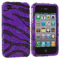 jeweled purple zebra iphone case