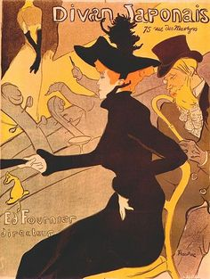 What: Divan Japonais Poster Whom: Henri de Toulouse-Lautrec When: 1892 How: planographic , brush, crayon, spatter and transfer screen lithograph, printed in four colours on wove paper mounted on linen  Where: National Gallery of Australia, Canberra