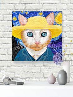 """VanGogh inspired #cat #design #art on canvas with 11/2"""" stretchers gallery wrapped. #autism #autismawareness #catart #catdecor #vangoghcat #walldecorart #walldecor #wallart #gicleeprint #catprint #artprintsforsale #artprint"""