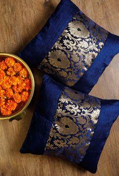 Buy Set Of Blue Brocade Cushion Covers Online Cushion Covers Online, Cushion Cover Designs, Handmade Cushion Covers, Handmade Cushions, Pillow Cover Design, Pillow Crafts, Diy Pillows, Decorative Throw Pillows, Handmade Bed Sheets