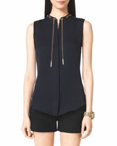 Chain-Neck Blouse by MICHAEL Michael Kors at Neiman Marcus.