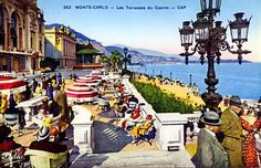 Vintage view of the principality of Monaco...