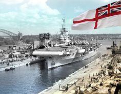 HMS Illustrious entering Captain Cook Graving Dock, Sydney on February 11, 1945.