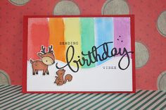 Carla's scrappy tales Birthday card using Lawn Fawn Cheery Christmas critter stamps and Mama elephant birthday die