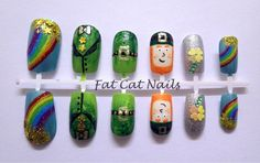 False nails, 'luck of the Irish' hand painted leprechaun 3D nail art on acrylic fake nails.St patricks day Irish themed, free nail glue by FatCatNails on Etsy https://www.etsy.com/listing/210546559/false-nails-luck-of-the-irish-hand