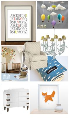 Modern and Unisex nursery Inspiration board