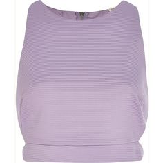 River Island Lilac ribbed cut out crop top ($20) ❤ liked on Polyvore featuring tops, crop tops, shirts, tank tops, sale, cutout crop top, high neck top, purple shirt, high neck shirts and lilac crop top