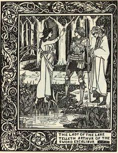 The Lady of the Lake Telleth Arthur of the Sword Excalibur - Aubrey Beardsley