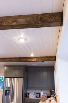 Kitchen Chronicles: DIY Wood Beams | Jenna Sue Design Blog. Would love to do a minature version of this in our guest bedroom.