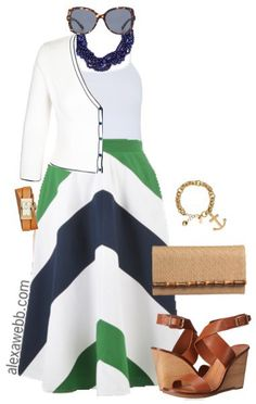Plus Size Chevron Skirt Outfit - Plus Size Fashion - alexawebb.con