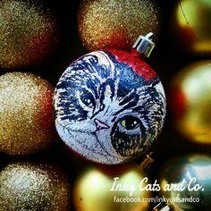 Customized, handpainted Christmas decor by Inky Cats and Co.   (facebook.com/inkycatsandco)