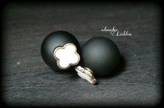 Schwarze Perlen DoppelPerlen Ohrstecker mit von byschmuckesLaedchen