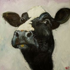 Cow painting 509 18x18 inch original animal oil painting by Roz. $165.00, via Etsy.