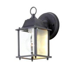 Hampton Bay Black 1-Light Outdoor Wall Lantern-BPM1691-BLK at The Home Depot 10.97