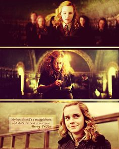 my best friend's a muggleborn and she's the best in our year. - harry potter