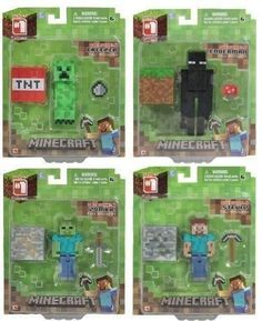 "Minecraft Steve,Enderman,Creeper,Zombie 3"" Figure Toy Set of 4"