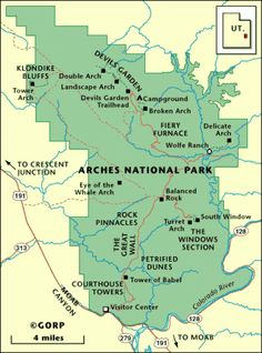 Map of Arches National Park Arizona National Parks, Utah Parks, Cruise America, Arches Np, Utah Vacation, Cross Country Trip, Family Adventure, Oh The Places You'll Go, Travel Usa