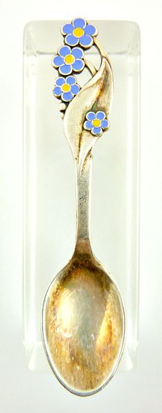 collectible spoons | ... Silver Meka Denmark Spoon with Blue Enamel Flowers Tiny Collectible