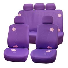 FH Group Purple Flower Embroidery Airbag Compatible Car Seat Covers (Purple)