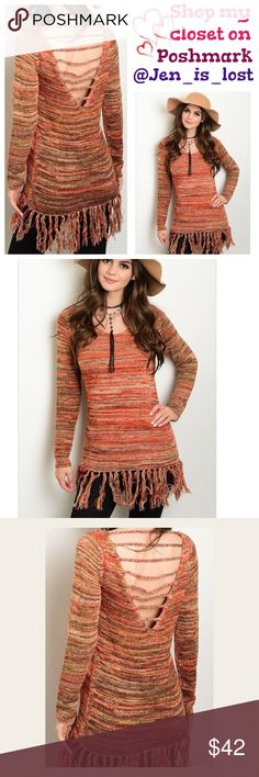 Sale Fringed Trim Back-V Neck Sweater  Medium Fringed Trim Back-V Neck Sweater  What a fun addition to your fall wardrobe.  Fringed trim with back v-neck sweater.  100% acrylic. Fit is for women's size Medium = 6-8. No Trades ✅Reasonable Offers Are Considered✅ Use the blue offer button. Sweaters
