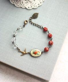 Vintage Floral Bouquet Bird Bracelet. Rustic Red Melon by Marolsha